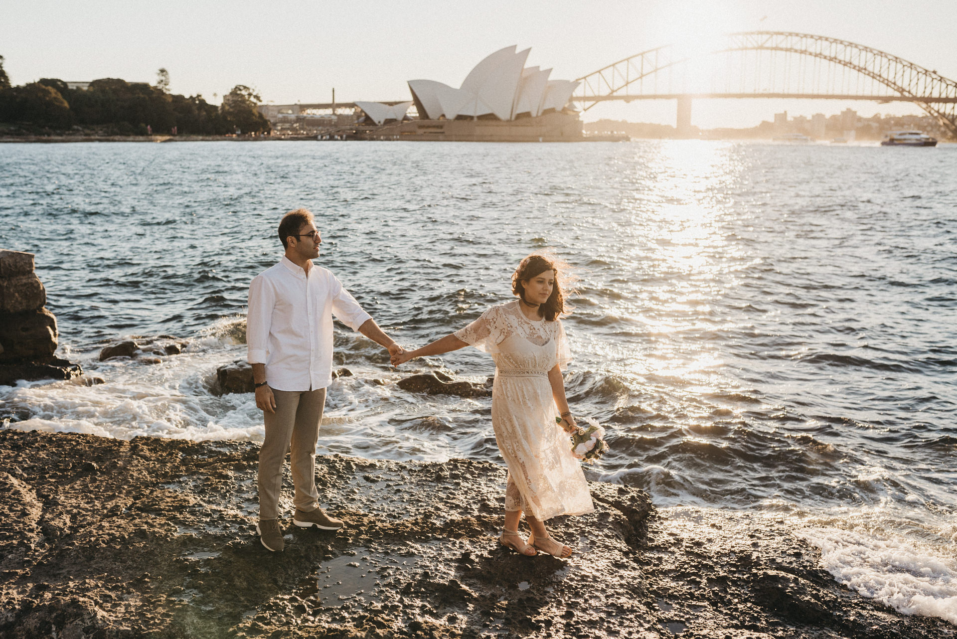 Mrs Macquarie's Chair engagement session sunset
