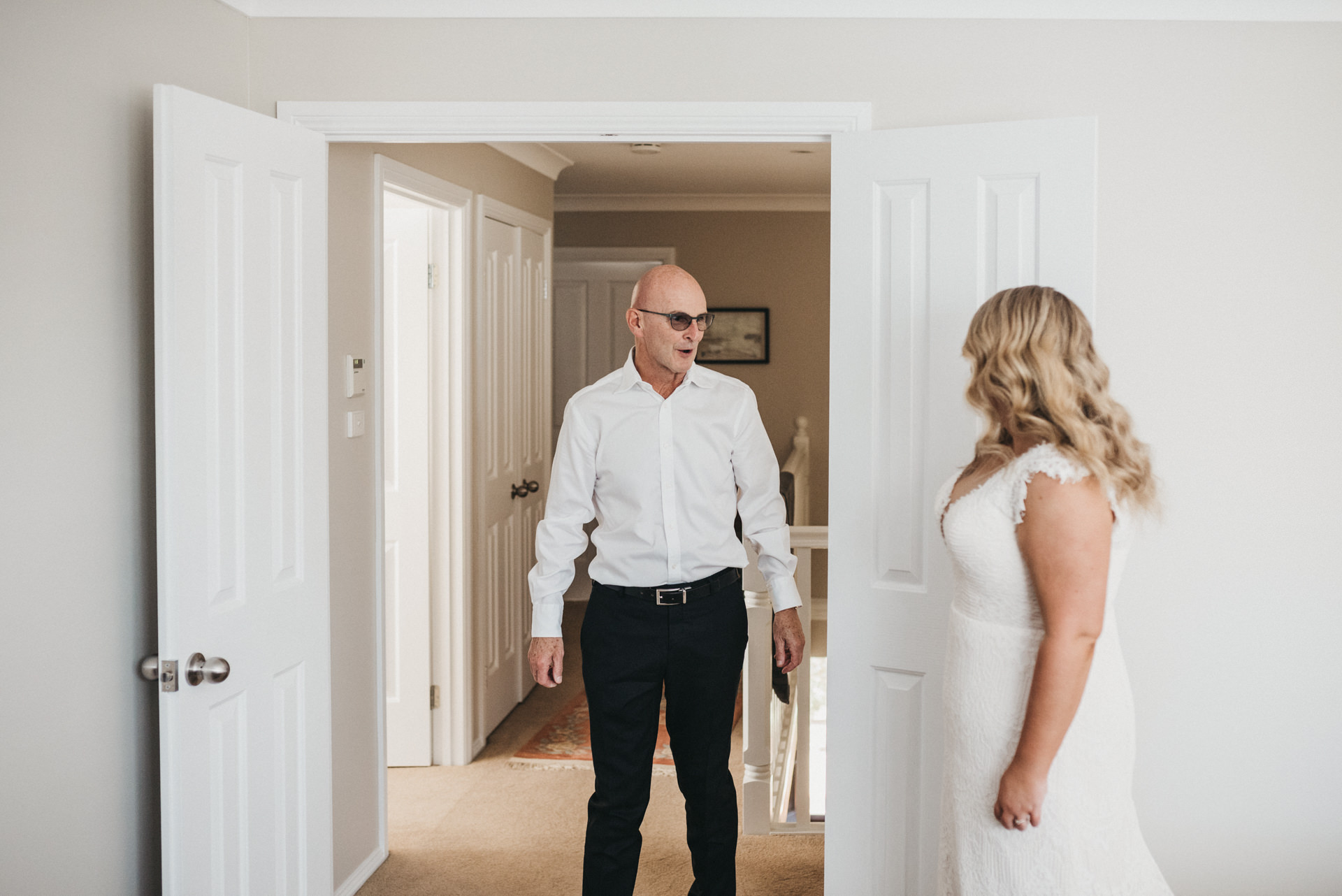 first look father and bride